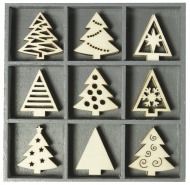 Box with 45 Wooden Christmas Embellishments : Trees