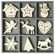 Box with 45 Wooden Christmas Embellishments : Collection 8