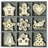 Box with 45 Wooden Christmas Embellishments : Gingerbread