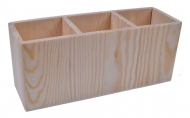 Wooden Pencil Holder with 3 Slots 24 x 8 x 10 cm