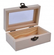 Small Wooden Box with Glas Lid : 12.5 x 7.2 x 5.2 cm