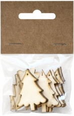 Wooden Christmas Toppers - Trees 40 mm 12 pcs