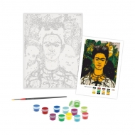 Rosa Paint by Numbers Acrylic Kit - Mastepieces - Self-Portrait with Thorn Necklace and Hummingbird- Frida Kahlo