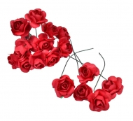Bunch of 12 Red Mulberry Paper Roses, 18 mm