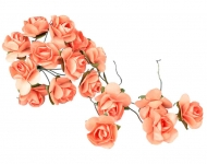 Bunch of 12 Orange Mulberry Paper Roses, 22 mm
