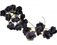Bunch of 12 Black Mulberry Paper Roses, 18 mm