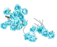 Bunch of 12 Turquoise Mulberry Paper Roses, 18 mm