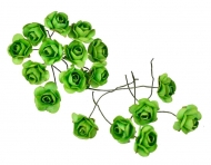 Bunch of 12 Green Mulberry Paper Roses, 18 mm