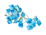 Bunch of 12 Blue Mulberry Paper Roses, 22 mm
