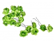 Bunch of 12 Green Mulberry Paper Roses, 22 mm