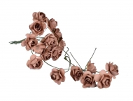 Bunch of 12 Brown Mulberry Paper Roses, 18 mm