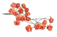 Bunch of 12 Orange Mulberry Paper Roses, 15 mm
