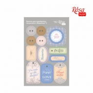 Rosa Scrapbook Stickers 13 x 20 cm - Tags and Buttons