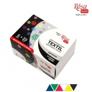 Fabric Paint for Light and Dark Coloured Textiles Rosa Set 6 colours x 20 ml