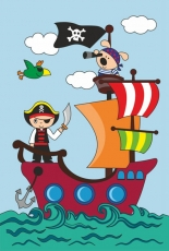 Rosa Kids paint by Outline Kit 20 x 30 Pirate Ship