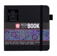 Sketch/note Book with Black Paper Sakura : 140 gsm : 80 Sheets :  12 x 12 cm