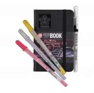 Sketch/note Book with Black Paper Sakura  : 140 gsm : 80 Sheets : 9 x 14 cm (A6)