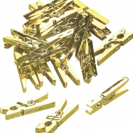 Small Plastic Clothes Pegs 25 x 8 mm, Pack of 20 Gold