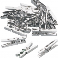 Small Plastic Clothes Pegs 25 x 8 mm, Pack of 20 Silver