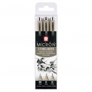 Pigma Micron Fineliners Set of 3 : 005 0.2 mm : 01 0.25 mm : 03 0.35 mm