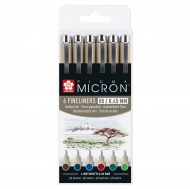 Sakura Pigma Micron Pens Set of 6 Earth Colours 05 0.45 mm