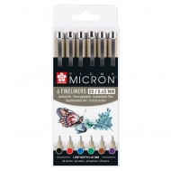 Sakura Pigma Micron Pens Set of 6 Basic Colours 05 0.45 mm
