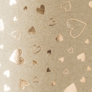 Embossed Recycled Kraft Paper Heyda : 220 gsm : 50 x 70 cm : Hearts : Rose Gold