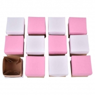 Set of 12 Kraft Paper Square Boxes : 4 x 4 x 4 cm : White and Pink Lids