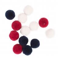 Soft Merino Wool Pompoms 20 mm : Box of 60 : Mixed : White, Navy and Red