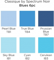 Spectrum Noir Classique Alcohol Marker : Set of 6 : Blues