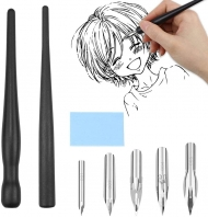 Set Manga Painting Kit Tool With 2 Calligraphy Dip Pen Holders and 5 Nibs
