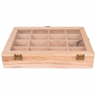 Wooden Box with Glass Lid : 27 x 21 x 5 cm