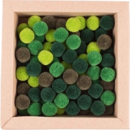 Soft Merino Wool Pompoms 15 mm : Box of 120 : Mixed : Green