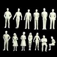 Plastic Miniature White Model Figures : Scale 1:100 : Height 18 mm :  Mixed : Pack of 25