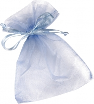 Organza Drawstring Bag : 10 x 18 cm : Light Blue