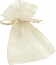 Organza Drawstring Bag : 10 x 18 cm : Cream