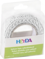 Heyda : Cotton Lace Tape : 15 mm x 2 m : White