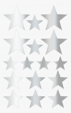Heyda : Pack of 64 Star Shape Stickers : Silver