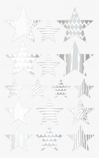 Heyda : Pack of 64 Star Shape Stickers : Silver and White