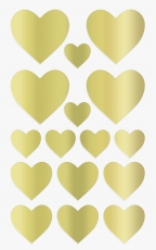 Heyda : Pack of 64 Heart Shape Stickers : Gold