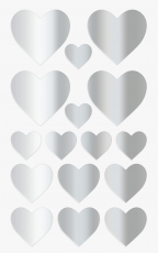 Heyda : Pack of 64 Heart Shape Stickers : Silver