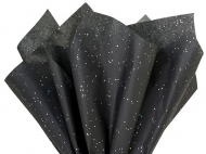Heyda : Glitter Tissue Paper : 50 x 75 cm : Pack of 3 : Black
