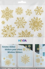 Heyda : Christmas Window Clings : Snowflakes : Gold