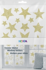 Heyda : Christmas Window Clings : Stars : Gold