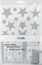 Heyda : Christmas Window Clings : Stars : Silver
