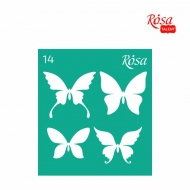 Reusable Self-Adhesive Stencil Rosa 9 x 10 cm : Butterflies : 14