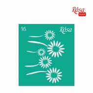 Reusable Self-Adhesive Stencil Rosa 9 x 10 cm : Flower : 16