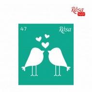 Reusable Self-Adhesive Stencil Rosa 9 x 10 cm : Love Birds