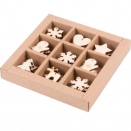 Wooden Christmas Scrapbook Embellishments : pack of 54