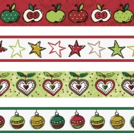 Set of 4 Christmas Deco Tapes : Heyda : Apples : Red